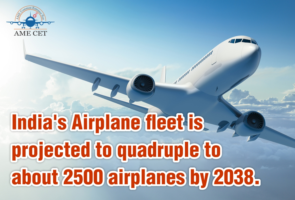 India's Airplane fleet is projected to quadruple to about 2500 airplanes by 2038